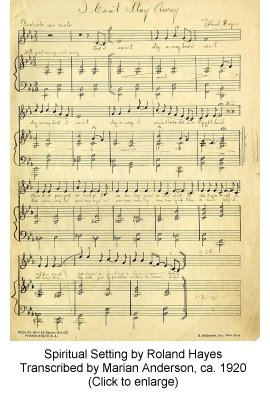 Marian Anderson transcription of Hayes spiritual setting