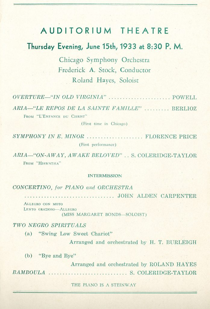 "Program from World premiere of Florence Price's ""Symphony in E Minor"" in 1933 (Courtesy of Rosenthal Archives of the Chicago Symphony Orchestra)"